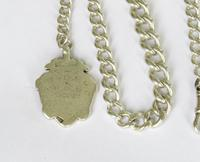 Antique Silver Watch Chain & Football Fob (3 of 4)