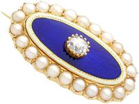 0.29ct Diamond, Seed Pearl & Enamel, 15ct Yellow Gold Brooch - Antique Victorian (5 of 9)