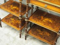 Pair of Victorian Marquetry Burr Walnut Etageres (8 of 12)