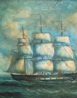 Original Seascape Oil Painting of 18th Century Tall-Masted Ship on the High Seas (11 of 12)