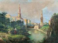 Large Early 1900s North African Cityscape with Mosque Oil Painting on Canvas (13 of 15)