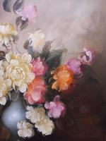 Large Oil on Canvas Bowl of Roses Signed (free Shipping to Mainland England (9 of 12)