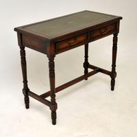 Antique Leather Top Oak Writing Table / Desk (8 of 10)