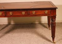 Writing Table/ Desk with 3 Drawers in Burl Walnut & Mahogany - 19th Century (2 of 10)