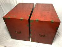 Pair of Late Qing Antique Chinese Dowry Marriage Wedding Brass Bound Red Lacquer Chests (16 of 54)