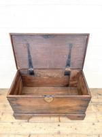Antique Mahogany Metal Bound Trunk with Wheels (6 of 10)