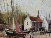 Large Oil on Canvas Dockside View Listed Artist Ira Englefield (7 of 12)