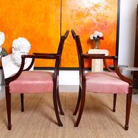 6 Dining Chairs Hepplewhite Mahogany Leather 19th Century (3 of 15)