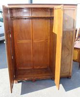 1940s Walnut 3 Door Wardrobe with Inlay Detailing. (4 of 7)