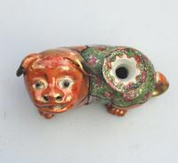 Chinese Canton Famille Rose Porcelain Buddhist Lion Candlestick 19th Century (5 of 9)