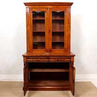 Library Glazed Bookcase Mahogany 19th Century Victorian Display Cabinet (5 of 11)