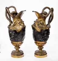 Pair of Late 18th Century Bronze and Gilt Bronze Ewers in the Manner of Clodion (4 of 7)