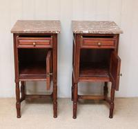 Pair of French Oak Marble Top Bedside Cabinets (4 of 9)