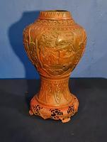 Antique 19th Century Asian Chinese Cinnabar Vase Urn (3 of 12)