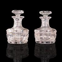 Pair of Antique Sherry Decanters, English, Glass, Spirit, Liquor Flask, Edwardian (2 of 12)