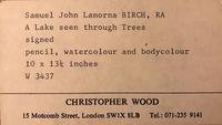 A watercolour by Samuel John Lamorna Birch RA  1869 - 1955 'A lake seen through trees' (3 of 4)