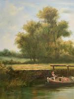Superb Large Vintage Gilt-Framed Landscape Oil Painting of Barge on the Canal (9 of 13)