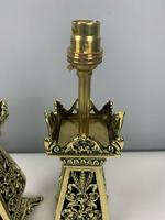 Pair Of Victorian Pierced Brass Table Lamps; Rewired And Pat Tested (5 of 10)