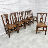 Set of 6 Georgian Welsh Oak Dining Chairs (6 of 8)