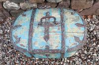 Scandinavian / Swedish 'Folk Art' Travel chest in blue paint and ironwork, 18th Century (22 of 37)
