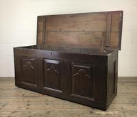Antique 18th Century Oak Coffer with Carved Detail (10 of 12)