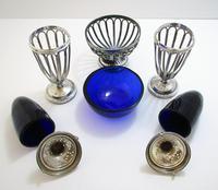 Antique English Edwardian (1911) Solid Sterling Silver & Bristol Blue Glass Salt Cellar Pepper Shaker Pots Cruet Set (3 of 7)