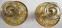 Pair of Czech Glass Decorated Candlesticks,  Circa 1950's (3 of 4)