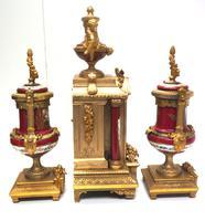 Incredible French Sevres Mantel Clock French Striking 8-day Garniture Clock Set (15 of 19)