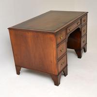 Antique Burr Walnut  Leather Top Desk (3 of 13)