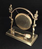 Art Deco Brass Dinner Gong & Striker (2 of 6)