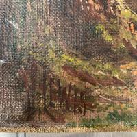 Antique Landscape Oil Painting of Deer in Richmond Park Signed JI Lewis (6 of 10)