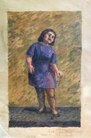 Original oil on canvas (unstretched) 'Valerie B singing' by Ann Spalding 1911-2013. Signed and inscribed Valerie Beanland (???). c.1950 (2 of 3)