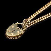 "Vintage Heart Padlock Fancy Curb 9ct 9K Gold Bracelet 6"" (4 of 11)"