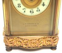 Fine Antique French 8-day Serpentine Fleur De Lis Decorated Panel 8-day Carriage Clock Timepiece c.1890 (6 of 10)