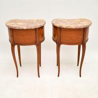 Pair of Antique French Marble Top Kidney Bedside Tables (10 of 12)