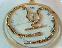 Antique Pocket Watch Chain 1890s Victorian 18ct Rose Rolled Gold Albert With T Bar (3 of 12)