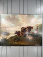 Antique Victorian landscape Oil Painting with Cows Sheep & Milkmaid (2 of 10)
