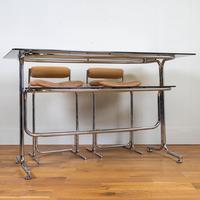 Rare Chrome & Smoked Glass Pieff Eleganza Breakfast Bar & 2 Stools (4 of 15)