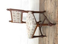 Pair of Antique Victorian Gothic Oak Chairs with Floral Upholstery (5 of 10)