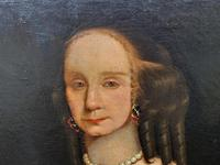 Huge Period Antique 3/4 Length Oil Portrait Painting of 17th Century Lady (6 of 13)
