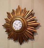 Sunburst Carved Giltwood Wall Clock (3 of 9)