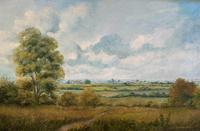 Original 20th Century Vintage English Farmland Country Landscape Oil on Canvas Painting (2 of 14)