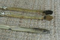 Fine Pair of Antique Georgian Brass Fire Irons Companion Set Poker Tongs (3 of 10)