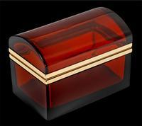 Antique Bohemian Ruby Glass Casket / Box (5 of 5)