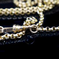 Antique Victorian 9ct 9K Gold Belcher Guard Muff Chain Necklace (6 of 9)