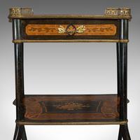 Antique Etagere, Italian, Mahogany, Boxwood, 3 Tier Whatnot, Victorian c.1900 (6 of 12)