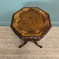 Fine Quality Victorian Figured Walnut Antique Work Box (8 of 9)