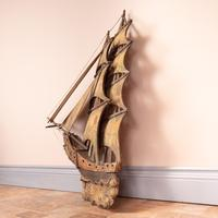 Carved Wooden Galleon Model (5 of 9)