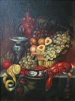 Fine Early 20thc Antique Still Life Oil Painting - Fruit & Shellfish - Minor TLC (4 of 14)