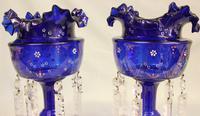 Antique Victorian Pair of Bristol Blue Mantle Lustres (3 of 7)
